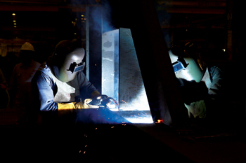 Fabrication in progress at an Emirates Building Systems plant