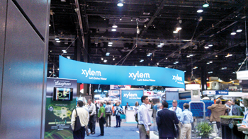 Xylem pitching for business at an exhibition