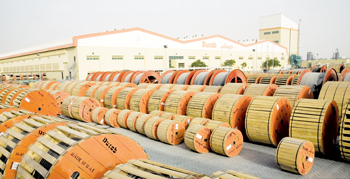 A stock of cables outside a Ducab factory