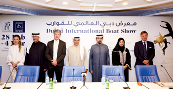 Officials pose after giving details about the Dubai International Boat Show 2017