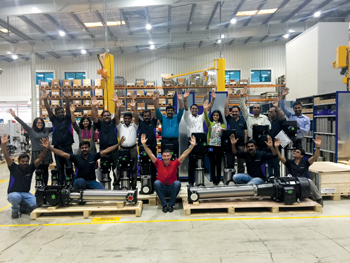 Grundfos team with the first CRN pumps assembled at the company's facilities in Jebel Ali, Dubai